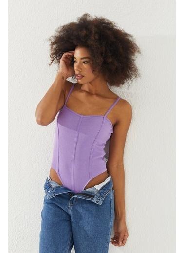 Reyon  Kadın Çıtçıtlı Askılı Bluz Taş Lila